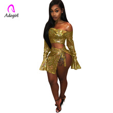 Adogirl Women Skirt Set Dazzling Diamond Night Club Two Piece Sexy Off Shoulder Flare Sleeve Crop Top Bow Mini