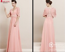 все цены на free shipping new fashion 2014 vestidos de festa bride casual dress cap sleeve formal gown lace pink long evening party Dresses в интернете