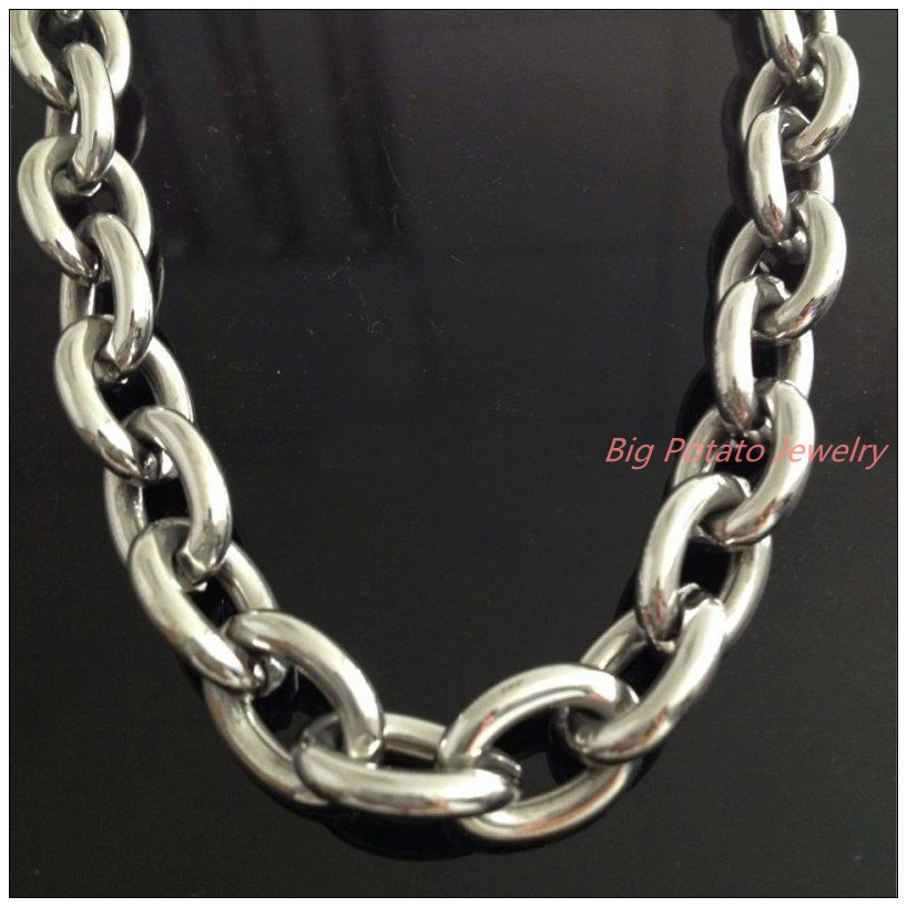 8 40 Huge Heavy Jewelry Men s 316L Stainless Steel Silver Big O Link Chain Necklace