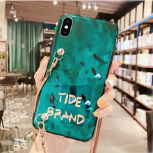 blue ray chain strap tpu case for iphone XS MAX XR X 7 8 6 6S plus 5 se 5s case cover fashion patterned soft silicon phone bag blue ray imd tpu gel pc combo back case for iphone se 5s 5 with flash powder paper green