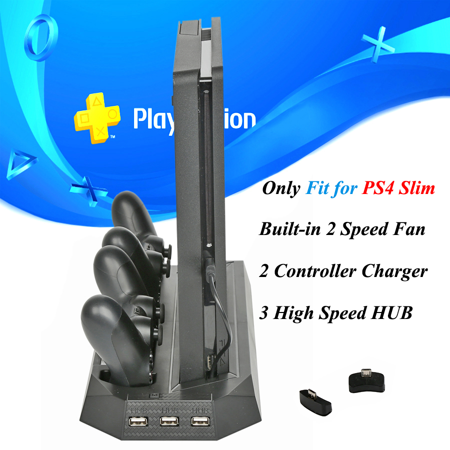 PS4 Slim Console Vertical Cooling Stand with Dual Joystick Controller Charger Dock Station for Sony Playstation 4 Slim Games image