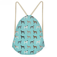 ThiKin Funny Dog Greyhound Pattern Green Drawstring Bags for Teen Girls Casual Large Storage Beach Bags Softback Backpacks
