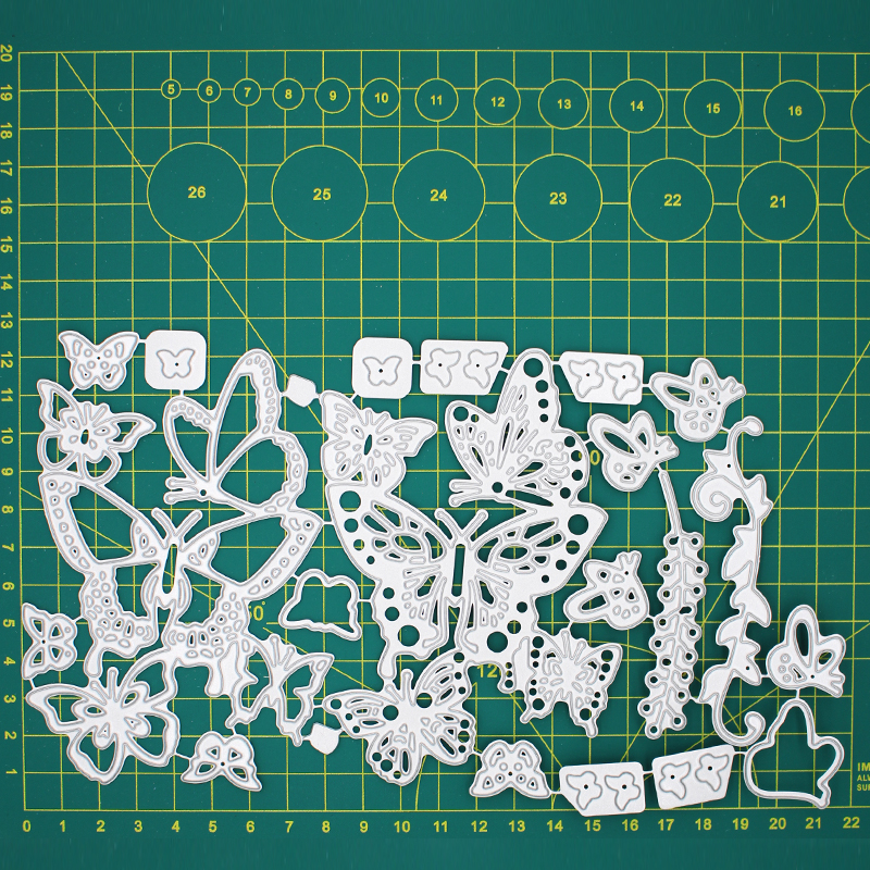 Butterfly Of Various Sizes And Styles Metal Cutting Dies  Scrapbooking Album Decoration Embossing Paper Card Craft 127*218 Mm