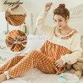 Высокое качество осень и зима беременных женщин плюс толстый бархат костюм Буру Yi беременных пижамы костюм