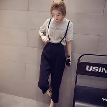 цена на Korean Style Summer Fashon Two-Piece Women O-Neck Half-Sleeve Striped Tops+Strap Wide Leg Pants Casual Sets Female