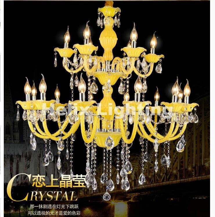 Mixed Color Yellow Crystal Chandelier Lustre Crystal Chandelier D950mm 12+6Arms E14 LED Optional Lustres De Cristal Chandelier лилия asiatic mixed geolia 12 14