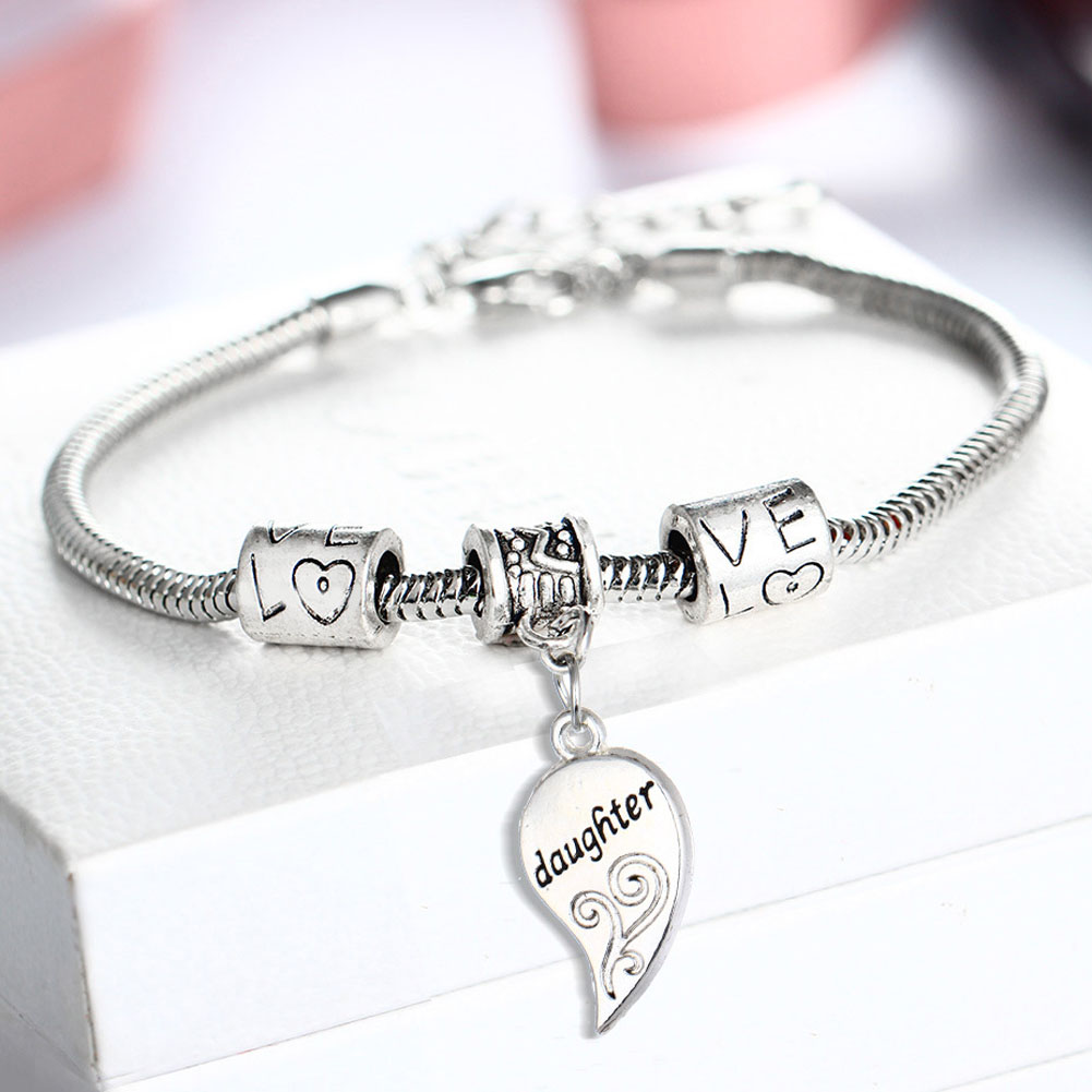 2PCS Silver Plated Mother Daughter Broken Splicing Heart Bracelet Bangle  Mom Women Girl Femme Charm Statement Jewelry Party-in Charm Bracelets from