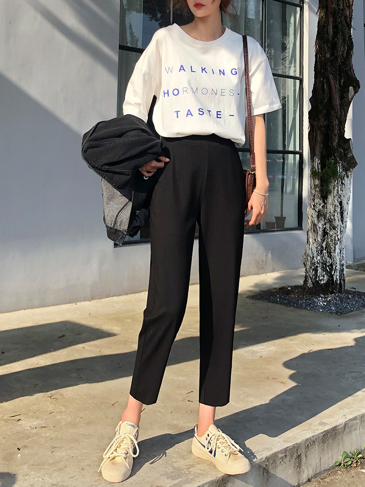 Women Pants Slim Straight Wide-legged Pants Korean Edition Loose Nine Points of Hallen Pants 2019 Spring NEW