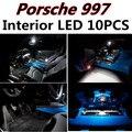 10 шт. Х бесплатная доставка Ошибка Бесплатный LED Интерьер Свет Комплект Пакет для Porsche 997 Turbo аксессуары 2007 +