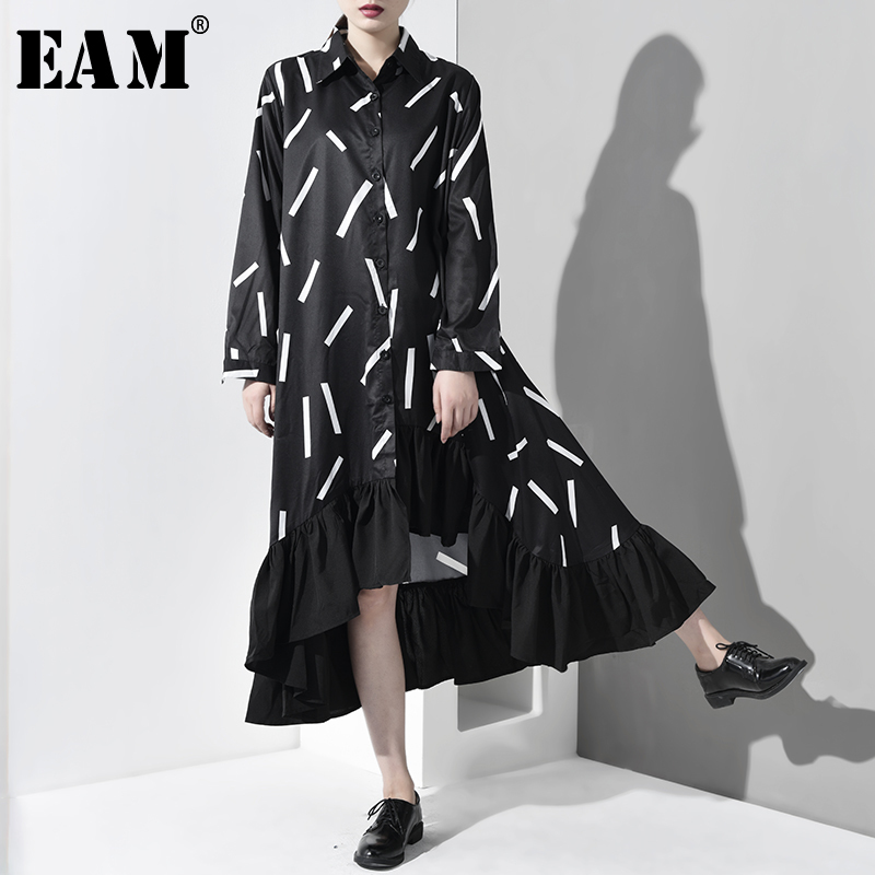 [EAM] 2020 New Spring Autumn Lapel Long Sleeve Black Pattern Printed Hem Ruffles Back Long Shirt Dress Women Fashion Tide JI0420