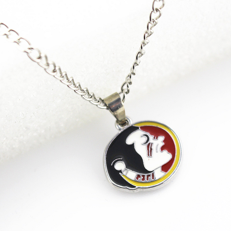 10pcs/lot Enamel Florida state Seminoles Baseball Team Necklace Pendant Jewelry With 60cm Chain Sports Necklace Jewelry Charms
