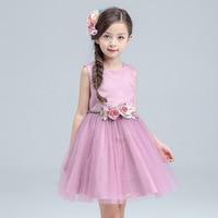 New Sweet Princess Dress Kid Girl Sleeveless Wedding Dresses Tulle Evening Purple Princess Costume Birthday Girl