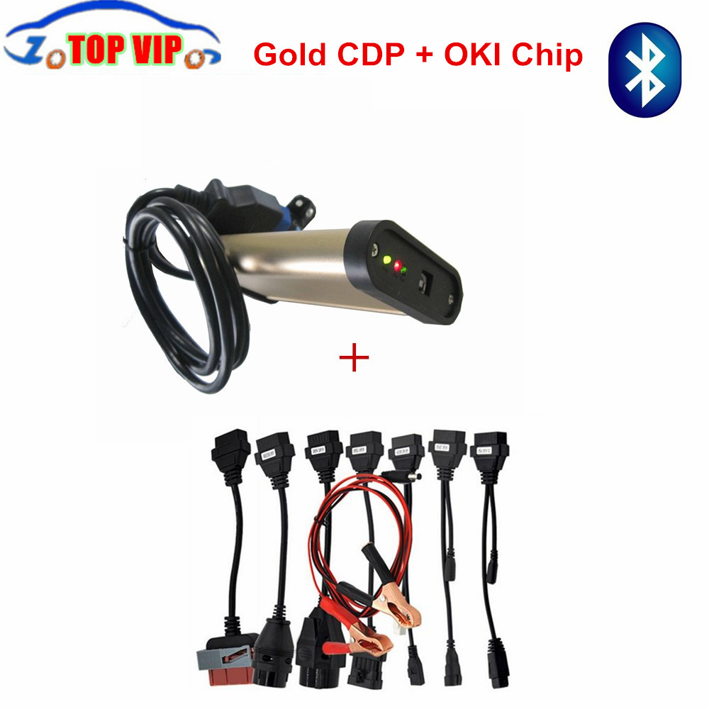 2018 Gold TCS CDP With bluetooth + OKI chip 2015 R1 Newest TCS CDP Pro + Full set 8 car cables auto diagnostic tool OBD2 Scanner quality aaa one single green board new vci without bluetooth 2014 r2 2015 r1 optional gray vd tcs cdp pro with japen nec relay