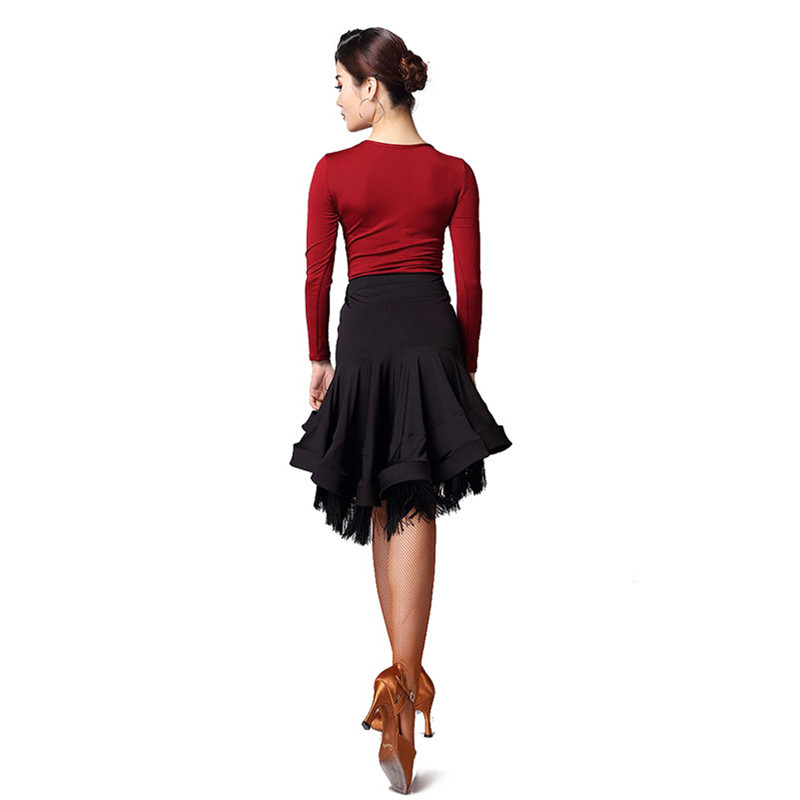Lady Latin Skirt Tango Short Skirts Dance Practice Dress Black Slim Dancewear