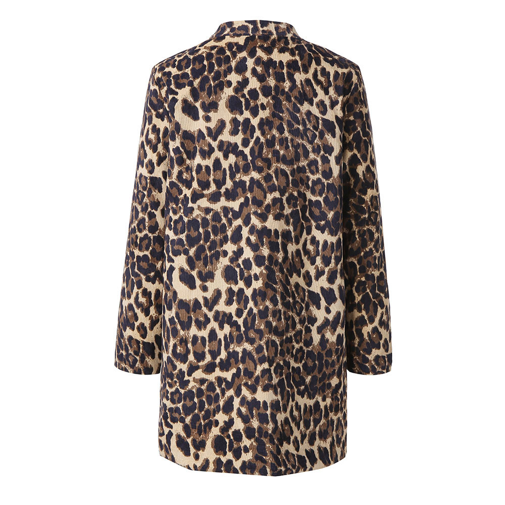 Women Leopard Printed Sexy Winter Warm Wind Coat Cardigan Long Coat Casual streetwear Cardigan #1019 A#487