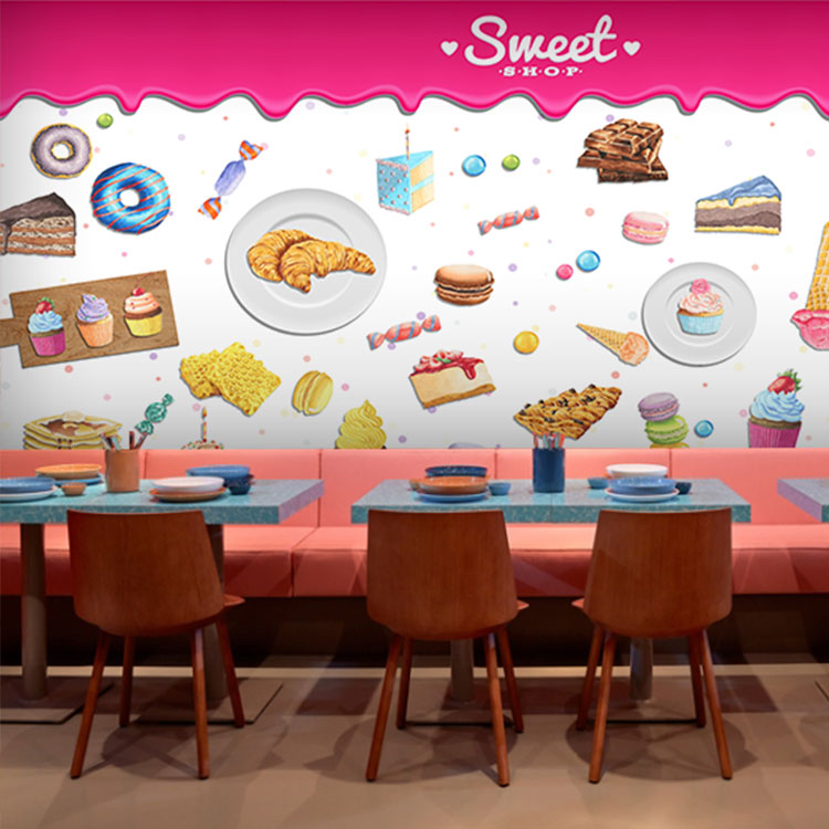 Us 10 15 38 Off Custom 3d Mural 3d Dessert Cake Gourmet Theme Restaurant Wallpaper Cake Shop Dessert Coffee Dessert Snack Bar Mural In Wallpapers