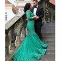 2017 Verde Vintage Lace Sereia Vestidos de Casamento Com Manga Comprida V Neck Vestido de Noiva Lace Up Long Train Vestidos de noiva 2016 Jas