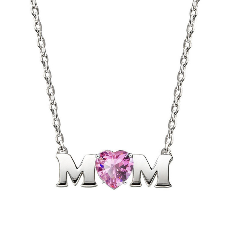 Fashion Jewelry Charm Mother's Day Gift Necklace Pink Heart Shape Zircon Letter Crystal From Austrian Pendant