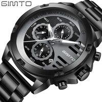 GIMTO Watch Men Luxury Brand Sports Mens Watches Steel Quartz Waterproof Clock Military Male Gold Wrist