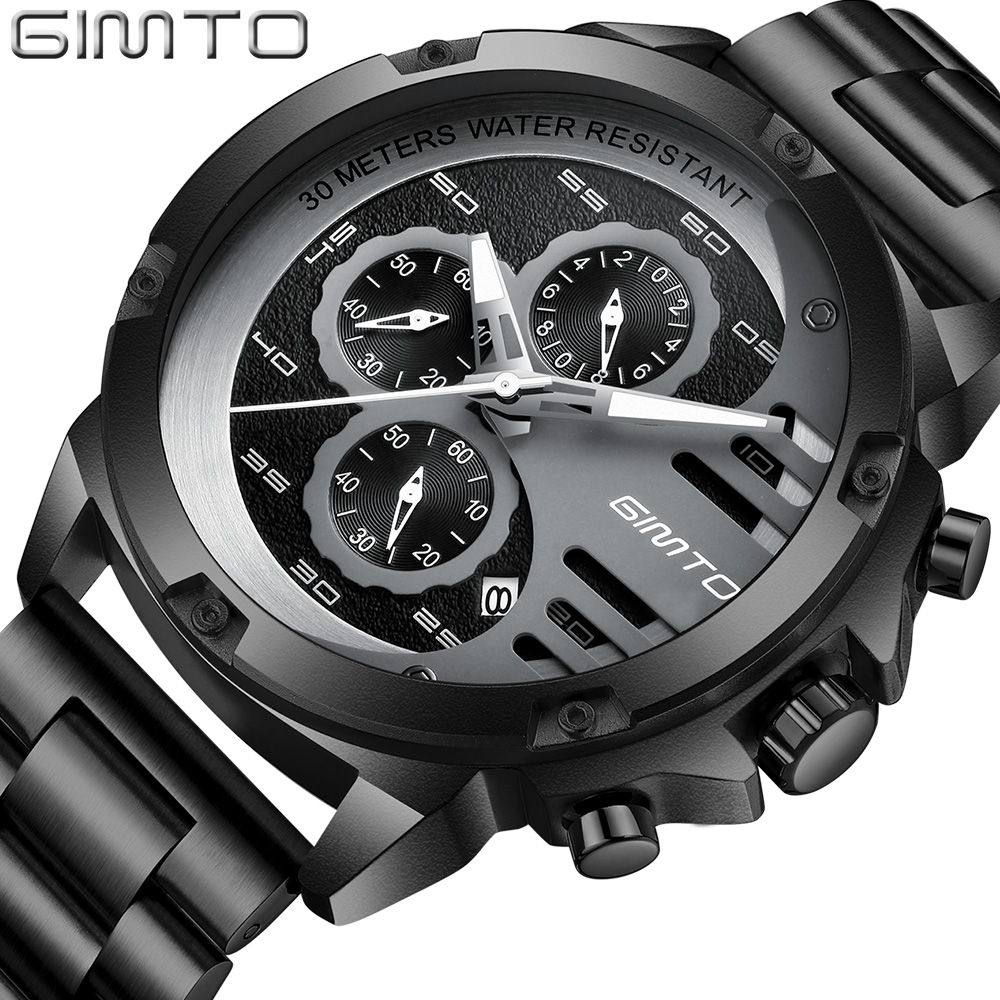 GIMTO Watch Men Luxury Brand Sports Mens Watches Steel Quartz Waterproof Clock Military Male Gold Wrist Watch Relogio Masculino