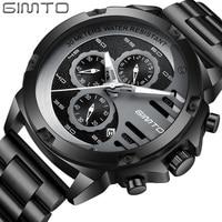 GIMTO zegarek mężczyźni luksusowej marki sportowe męskie zegarki ze stali zegarek kwarcowy wodoodporny zegar wojskowy mężczyzna złoty zegarek na rękę Relogio Masculino w Zegarki kwarcowe od Zegarki na