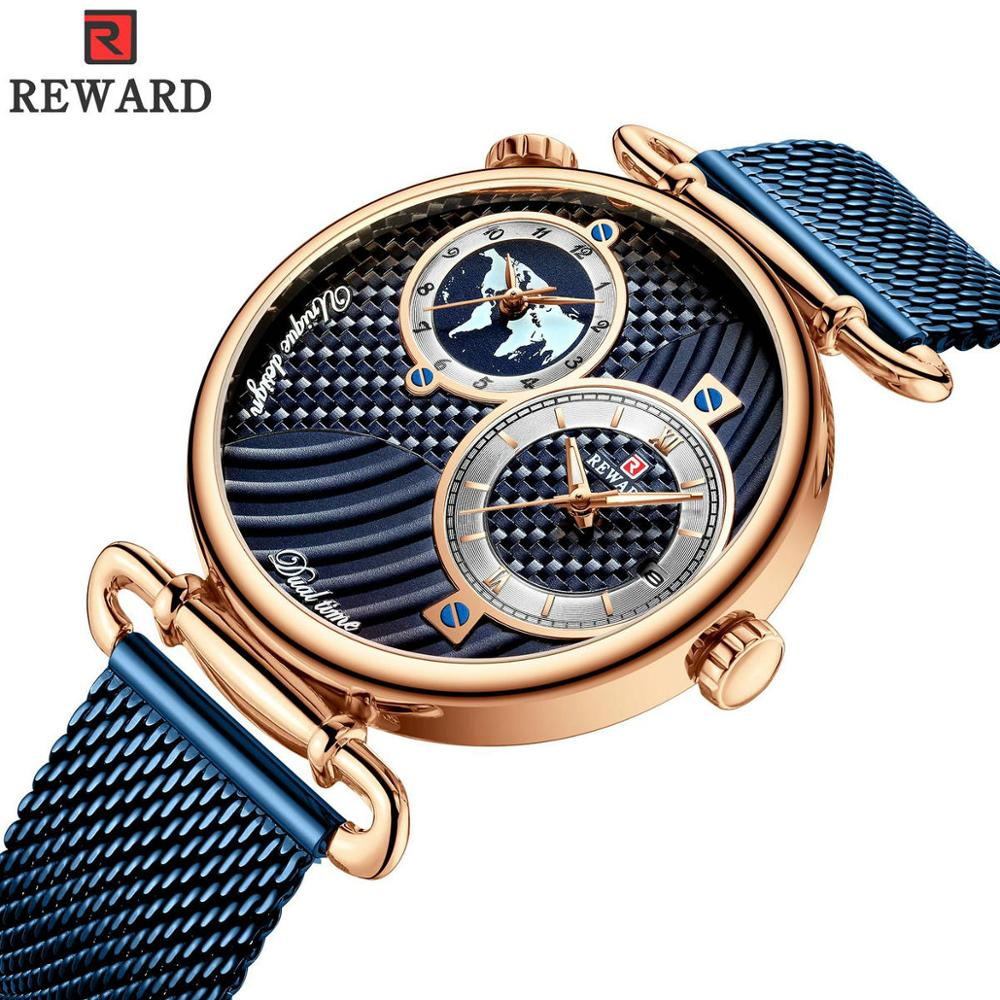 REWARD Blue Watch Men Unisex Quartz Analog Clock Dual Time Calendar Mens Watches Mesh Strap Ultra Thin Business Wristwatch