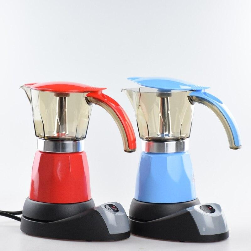 Free Shipping Espresso Coffee Pots Electrical Moka Pot Espresso Percolators 220V 50HZ Euro Plug Blue Red