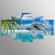 Canvas Painting Modular Picture 5 Panel Dolphin Landscape Painting