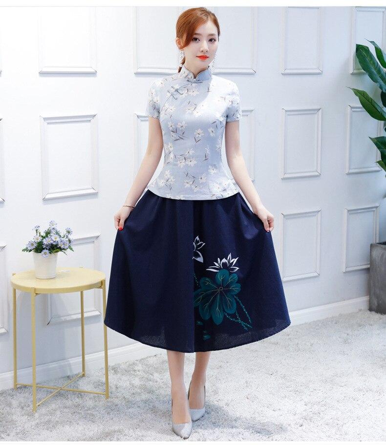 721690a94 Nueva blusa de verano para mujer conjuntos de falda tradicional China 2  piezas camisa de cuello ...