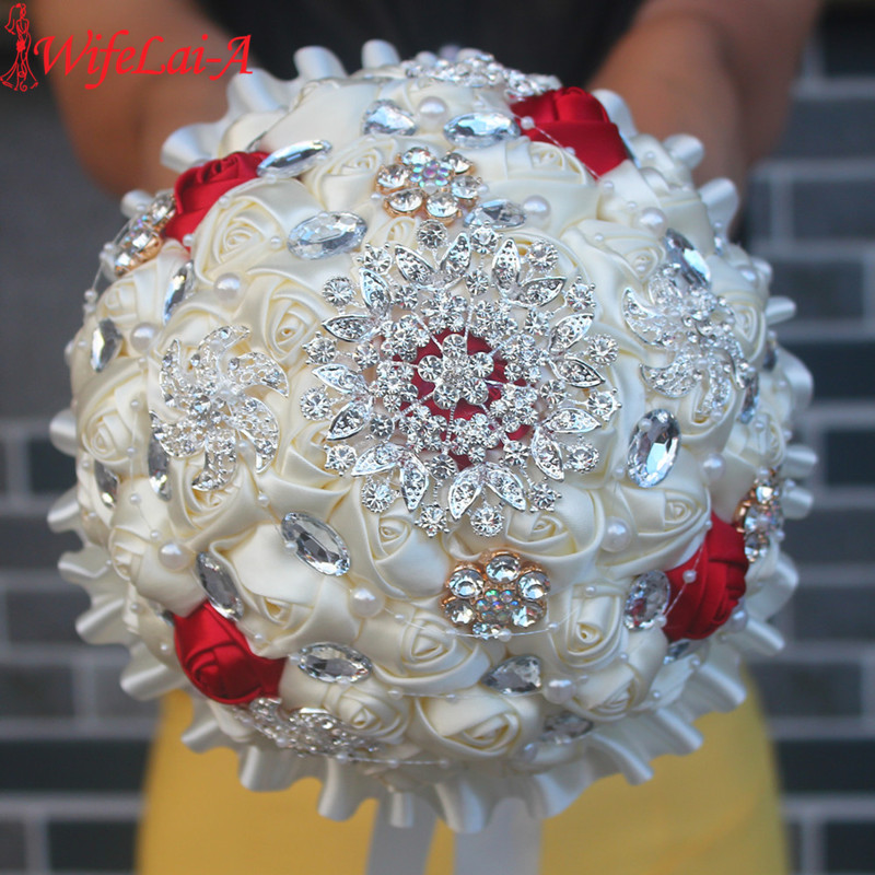 WifeLai-A Rabattpris Beaded Brosch Cream Bride Bridal Bröllop Bouquet Bridesmaid Vin Red Ivory Artificial Flowers PL001-1