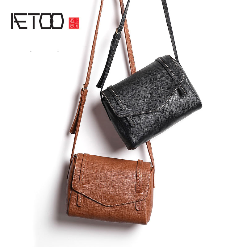 AETOO Original fashion leather handbag shoulder bag oblique cross head layer of cowboy ladies small package mini tide aetoo first layer of leather korean version of the tide ladies oil wax leather handbag ladies shoulder messenger bag