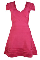 Free Shipping New Dress Rose Red High Quality Stretch Knit Fashion Casual Cocktail Party Celebrity Dress