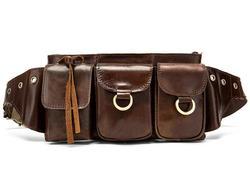 Натуральная кожа винтажная Уличная Повседневная поясная сумка