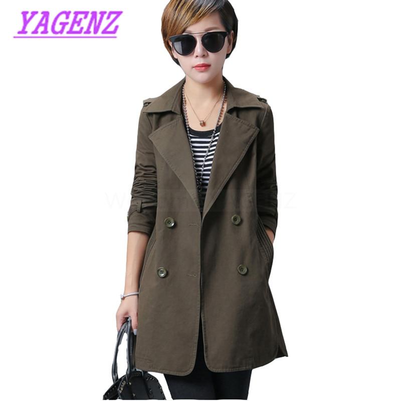Plus size S-3XL New Autumn Winter Windbreaker Coat Women Korean Long   Trench   Coat Young Women Loose Double breasted Overcoat B283
