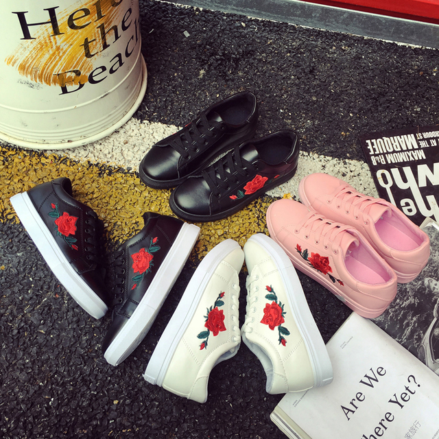 SAGUARO Fashion Embroidery Rose Moccasins Women White Casual Shoes Flat Walking Shoes Espadrilles Students Shoe Tufli Tenis 5