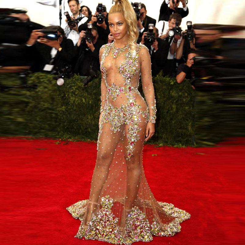 2015 Vestido De Festa Beyonce Sexy See Through Mermaid -2033