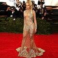 2015 Vestido de Festa Beyonce Sexy ver através da sereia Vestido de noite com cristal cor Nude de manga comprida celebridade vestidos