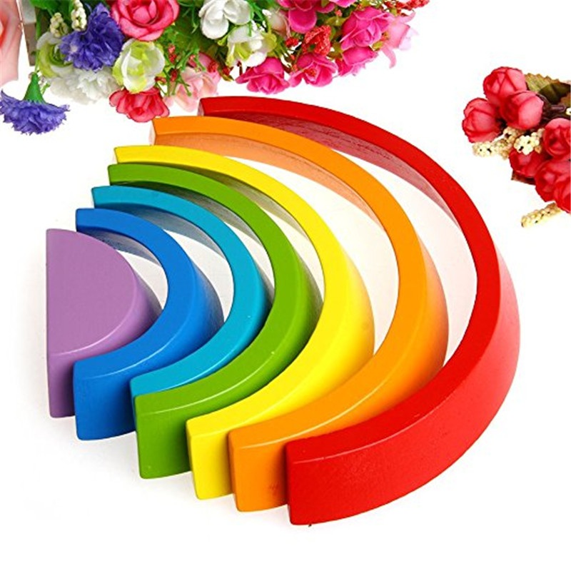 Funny Rainbow Wooden Buliding Blocks Children Early Education Toys Children Kids Educational Play Toy Set 200 sets of wooden pile two scenes bottled blocks children s early childhood educational toys