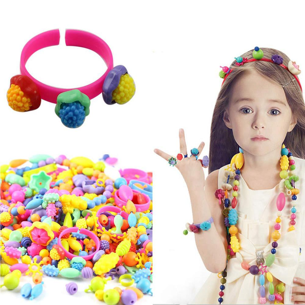 200/320/550Pcs Children Kids Girl DIY Beads Necklace Bracelet Jewelry Making Toy