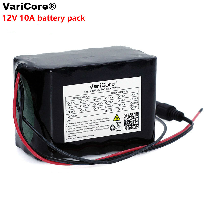 VariCore Large capacity 12 V <font><b>10Ah</b></font> 18650 <font><b>lithium</b></font> Rechargeable <font><b>battery</b></font> <font><b>12v</b></font> 10000 mAh with BMS for 75W LED lamp Xenon ues image