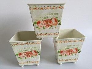 Image 3 - 6Pcs/Lot D10*H10CM Square Metal Planter Iron flower pots Wedding decorative flower Tub