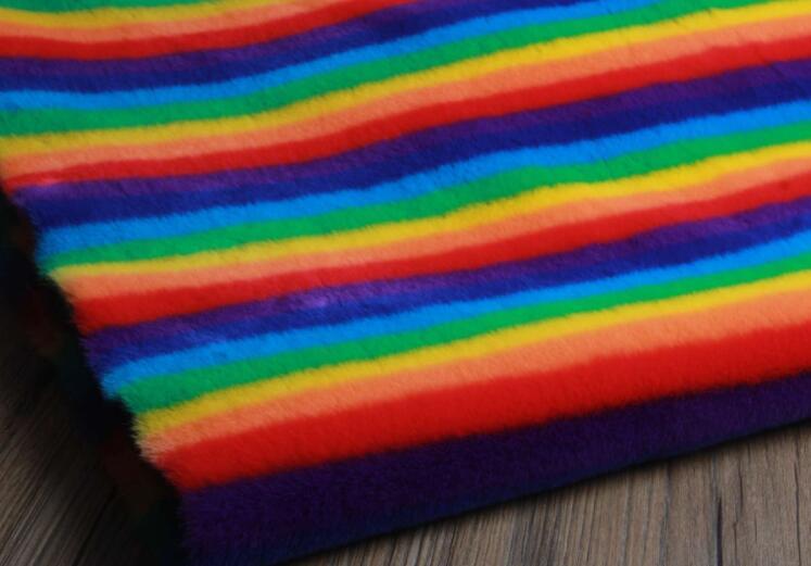 Rex lapin cheveux arc-en-ciel doux tapis en peluche laine tissu pour manteau textiles à la main patch Jacquard épais tecido sequin tissu A339