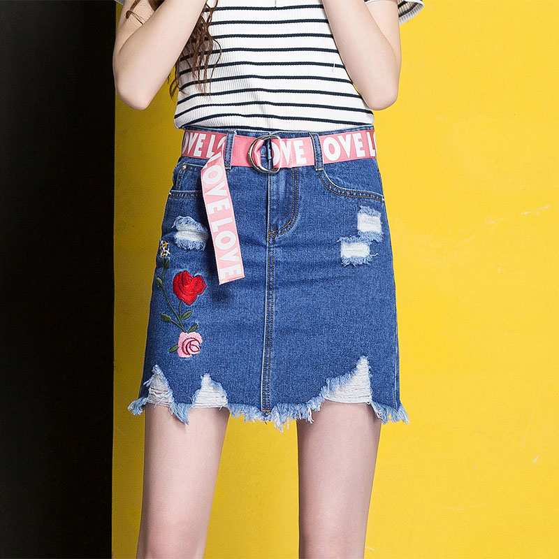 3XL Denim Skirt 2017 Women Spring Summer Slim Embroidery Mini Skirt Jeans Hole Womens High Waist Office Pencil Denim Skirts CS17