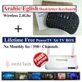 Mejores canales de IPTV libre de toda la Vida para siempre, receptor de televisión árabe android set-top box europa PowerTV X6, Arabe Teclado inalámbrico