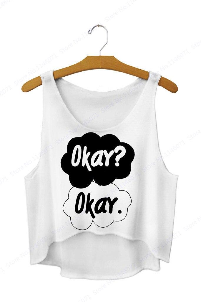 578ad0fd7c Black OKAY Crop Tank Tops Sleeveless Beach & Surfing T Shirt Summer Women  Basic Blouses Vest Loose Sexy Cutout Cami Singlet