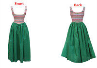 AIGYPTOS SHCAI]Original Design Women Vintage National Trend Striped European Style Cinderella Cotton Linen Long Vest Dress