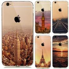 Paisaje de Nueva York Eiffel Torre París puesta de sol caso funda para el iPhone 7 8 Plus 6 6s 5S SE coque Londres Big Ben caso Empire Building