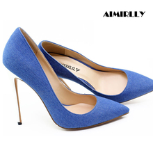 Aimirlly Women Shoes Pointed Toe High Heels Denim Pumps Stilettos Spring Summer Party Clubwear Shoes Thin Heels Blue Slip-On blue with gold wedding pumps peep toe high heels slip on stilettos party shoes 2016 new women pumps sweet bridal pump shoes