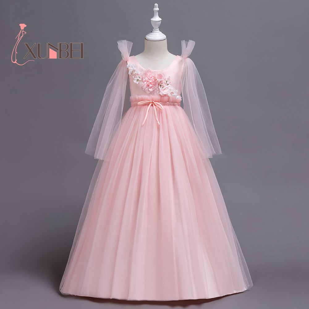 Princess Pink Long Sleeves   Flower     Girl     Dresses   2019 Tulle Appliqued Pageant   Dresses     Girls   First Communion   Dresses