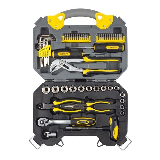 Set hand tool STAYER 27710-H56 (56 items, screwdriver bits, hinge-губцевый, wrenches, head) hand tool set stayer 2202 h6